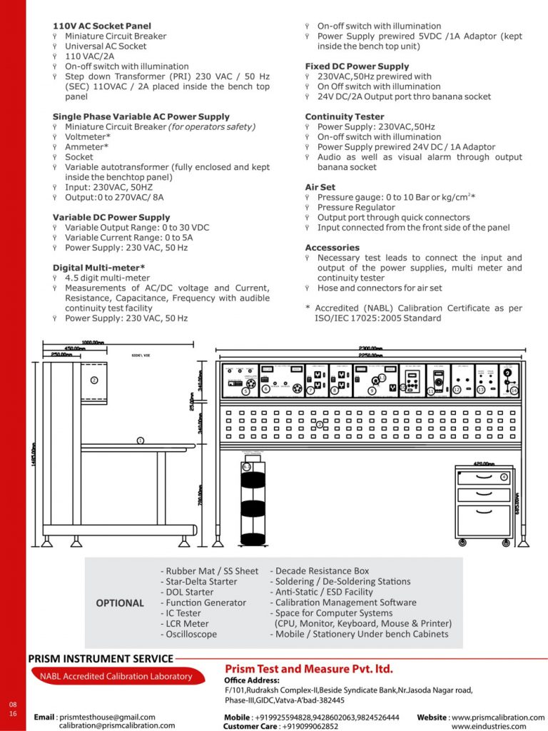 Electrical Test Bench etb Elevated series
