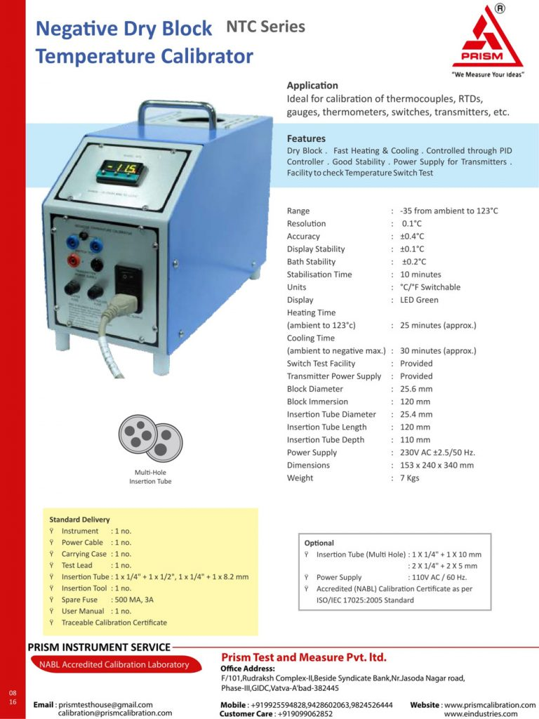 Negative Dry Block Temperature Calibrator ntc Series