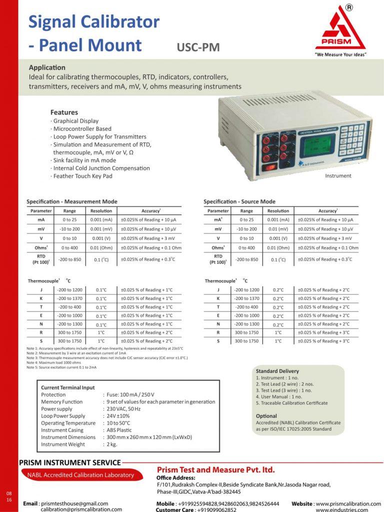 Signal Calibrator Panel Mount usc-pm